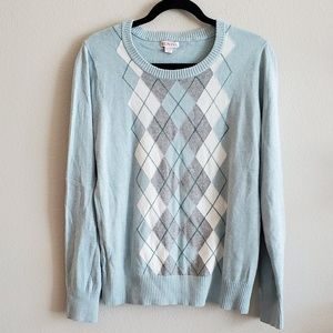 Target Merona Light Blue Argyle Pullover Sweater